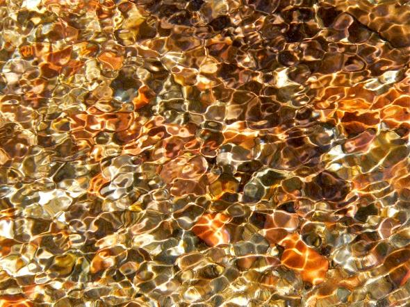 Sunlight on pebbles in creek