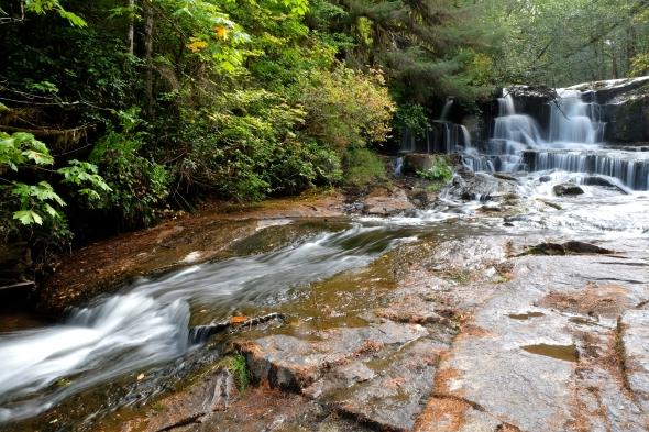 Waterfall, trees and rocks