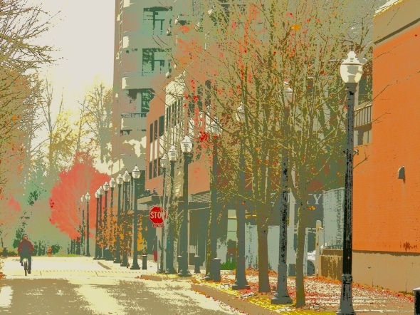 city street with cyclist and row of street lights and autumn foliage