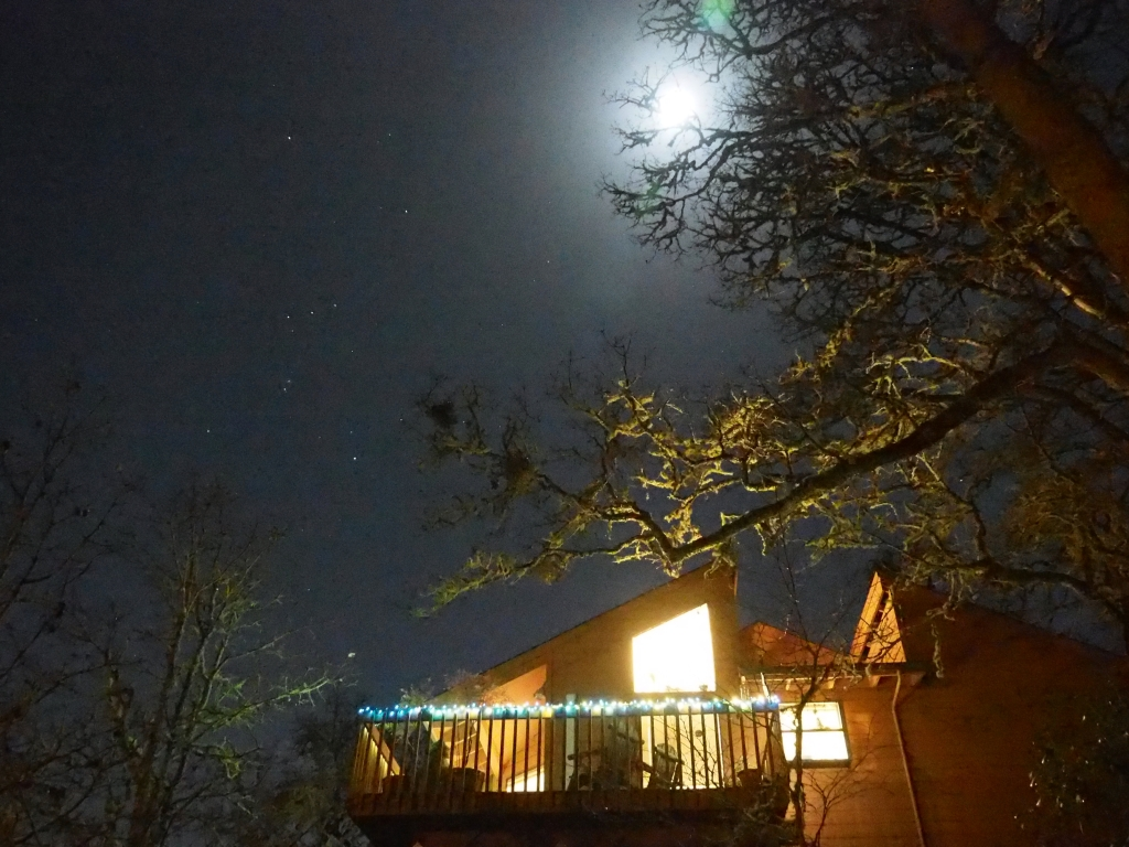 Brightly lit house, bare trees and night sky with Moon and Orion