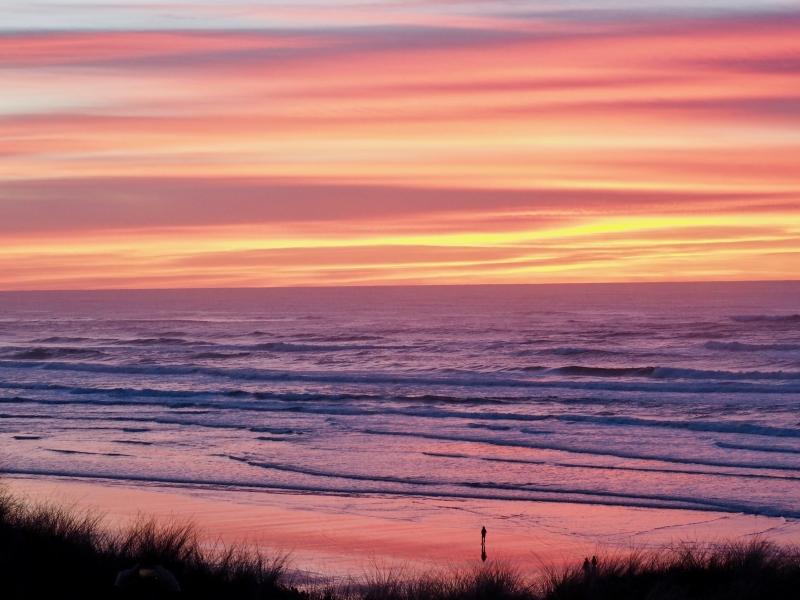 Pastel sunset, beach and ocean
