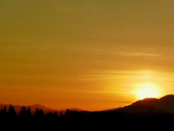 Golden sunset over western mountains