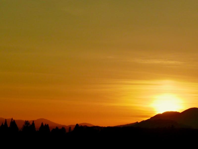 Golden sunset over western mountains