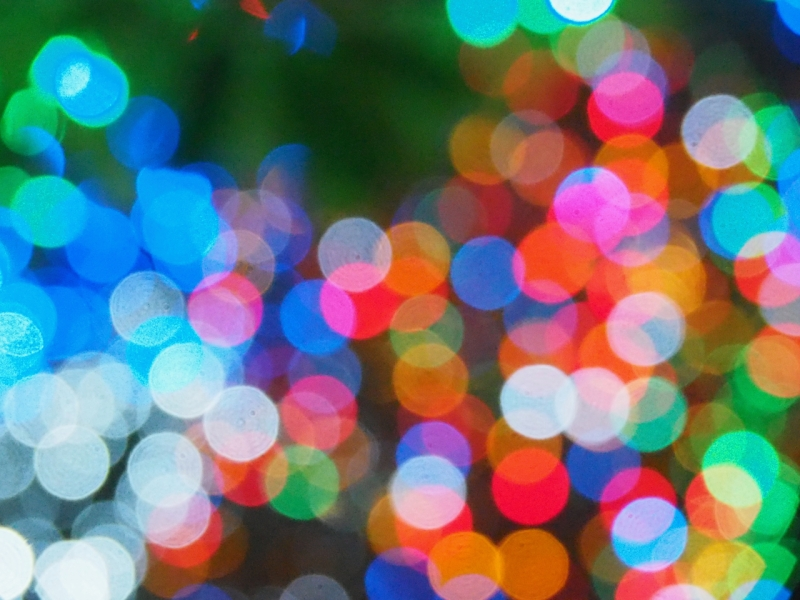 Abstract circles of light in many colors