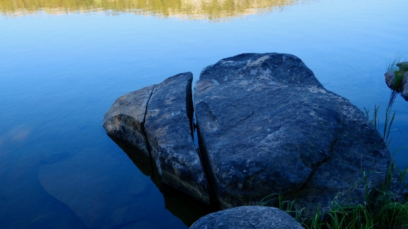 Boulders on lakeshore