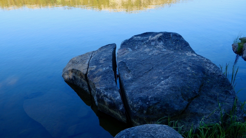 Boulders on lakeshore