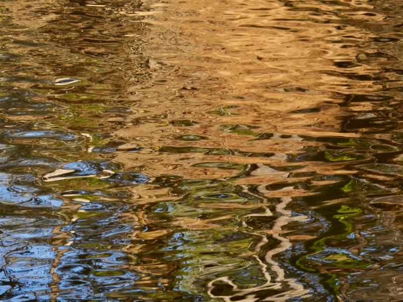 Wavy golden reflections in river