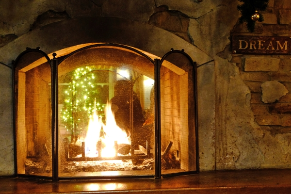 Fireplace and holiday lights
