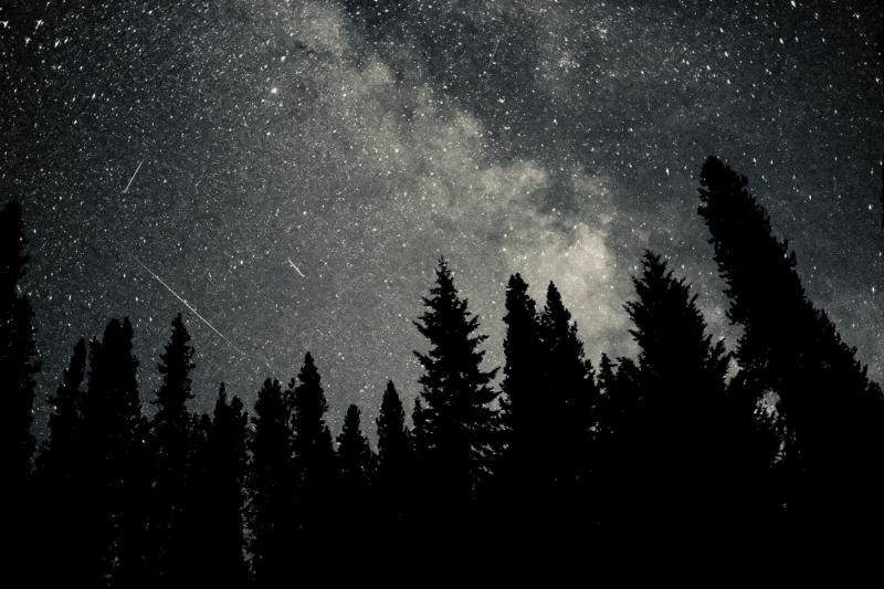 Night sky with Milky Way and Perseid meteors