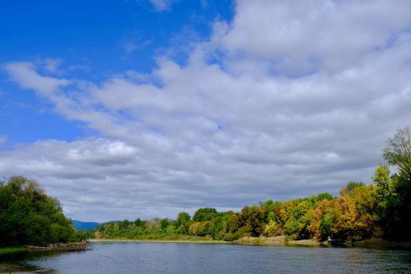 River and Sky and Fall Foliage