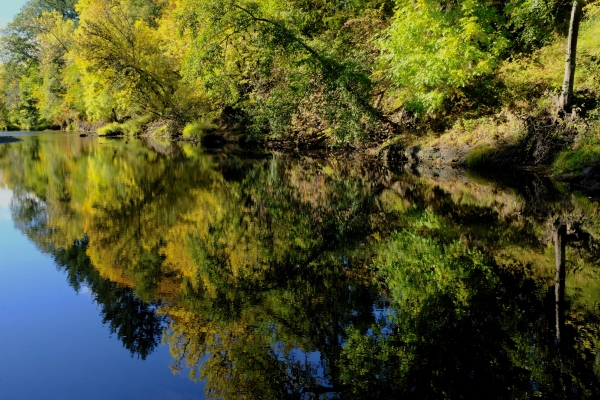 Fall foliage and reflections in river